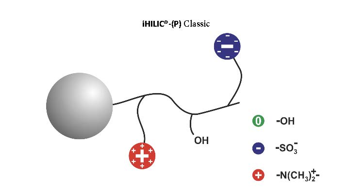 Schematic illustation of the iHILIC®-(P) Classic stationary phase.